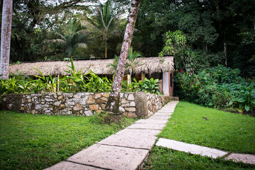 Our little house in the jungle of Chiapas at Mayabell Hotel - and literally with Howler Monkeys in the backyard! The jungle starts from our porch steps...
