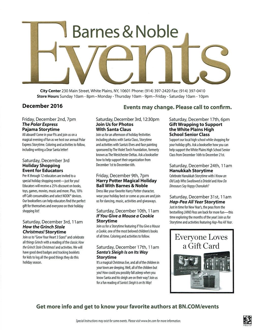 Barnes & Noble December Events — City Center