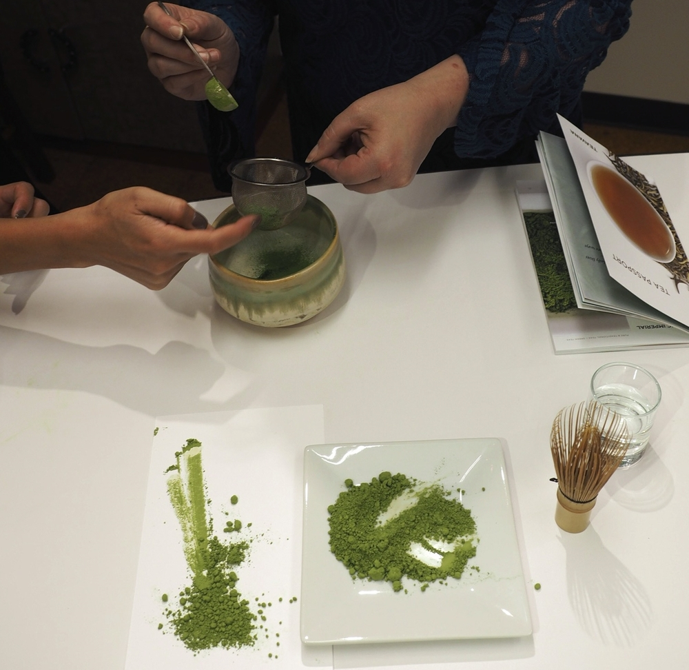 Sifting the matcha.