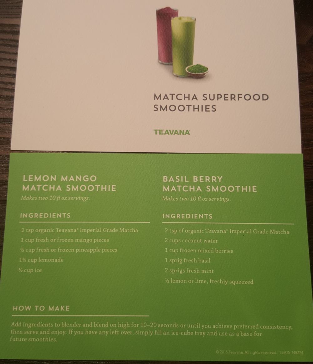 Smoothie recipe card
