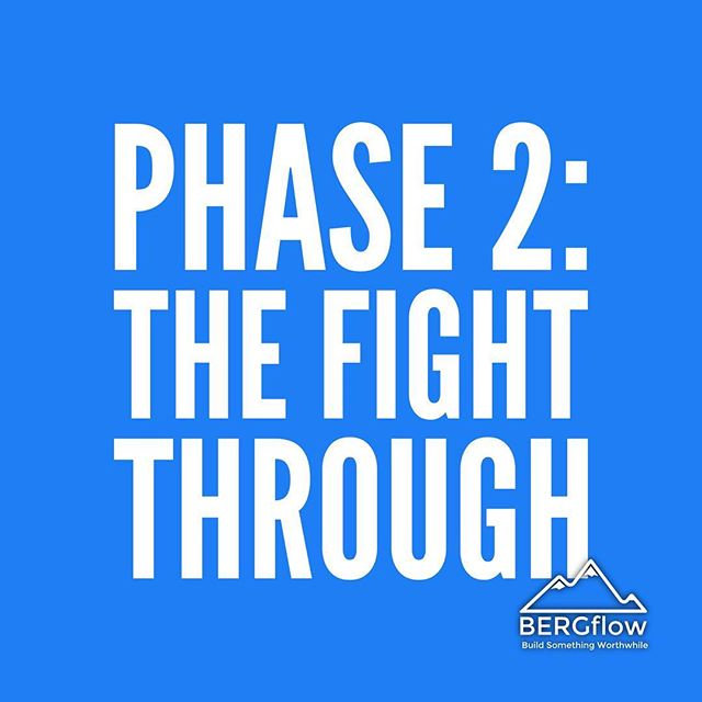 Phase 2 of Habit Formation: When it's just downright uncomfortable, difficult, unnatural, no longer exciting. This is the phase when GRIT, FIGHT, and SELF-DISCIPLINE come in. You have to reconnect with why you're changing and remain steadfast to that! Next up is Phase 3!⠀ ⠀ #habitformation #powerhabits #bergflow #changingyourlife #thefightthrough #grit #selfdiscipline