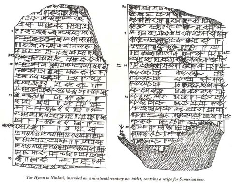 A depiction of the tablet upon which the Hymn to Ninkasi was found. Source: OpenCulture