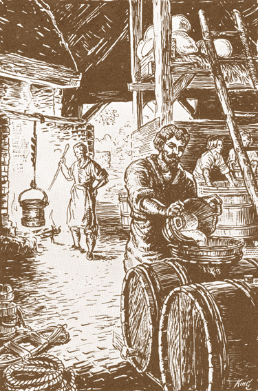 Beermaking at 17th-century Jamestown by Sydney King Source: NPS