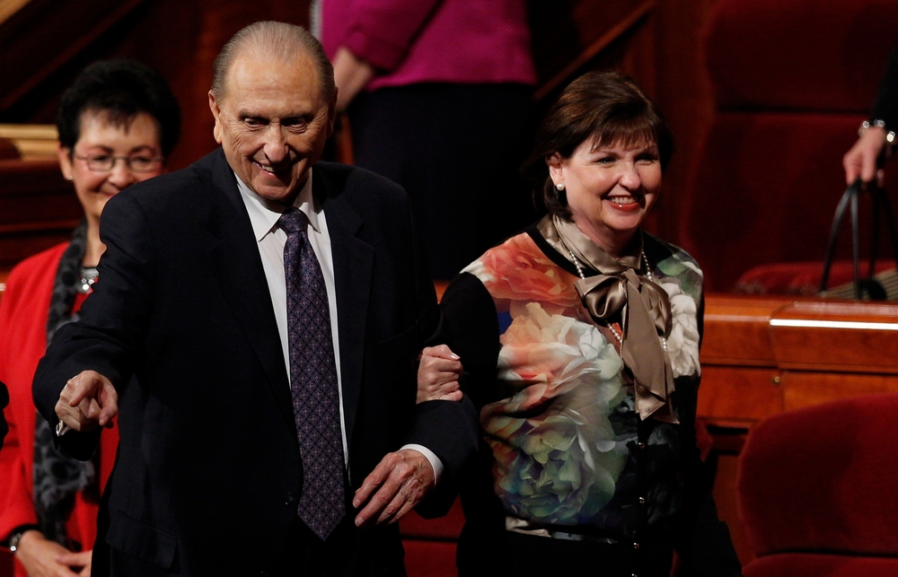 President Thomas S. Monson with daughter, Ann Dibb, shares a smile with the congregation in the Conference Center in Salt Lake City after the afternoon session, Saturday, October 3, 2015. © 2015 by Intellectual Reserve, Inc. All rights reserved.