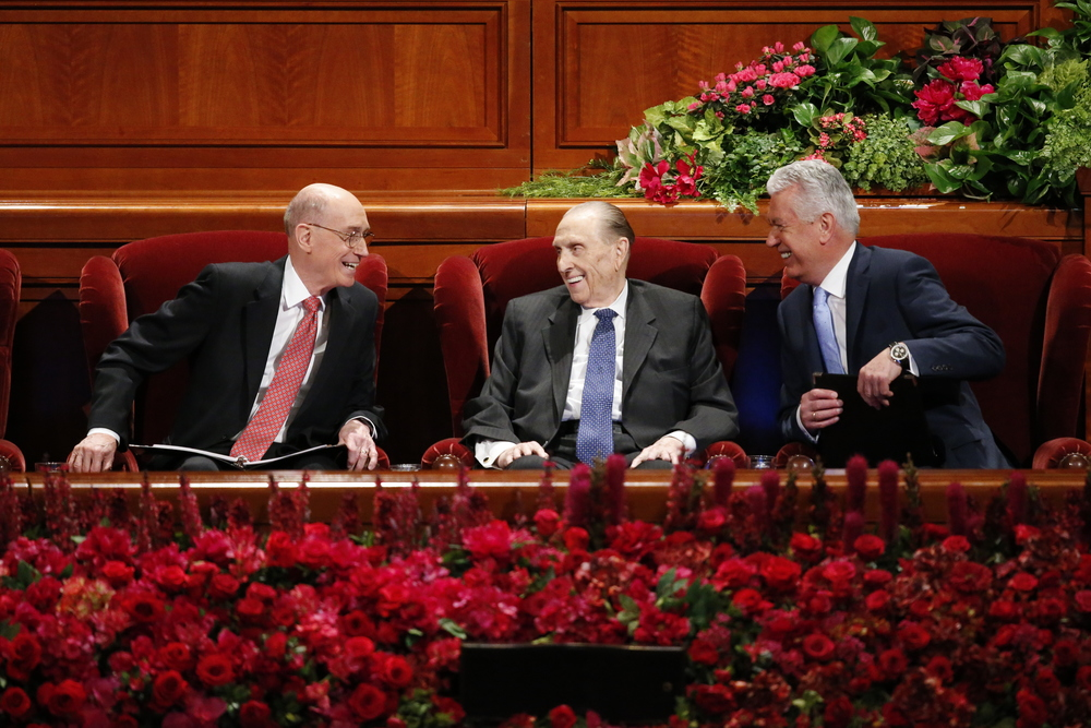 The First Presidency at the General Women's meeting.