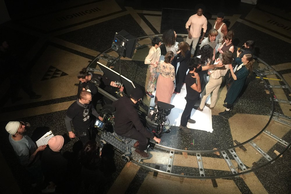 Matteo Graziano, crew and cast on a music video set for UNIVERSAL Music ph_Joel Cocks