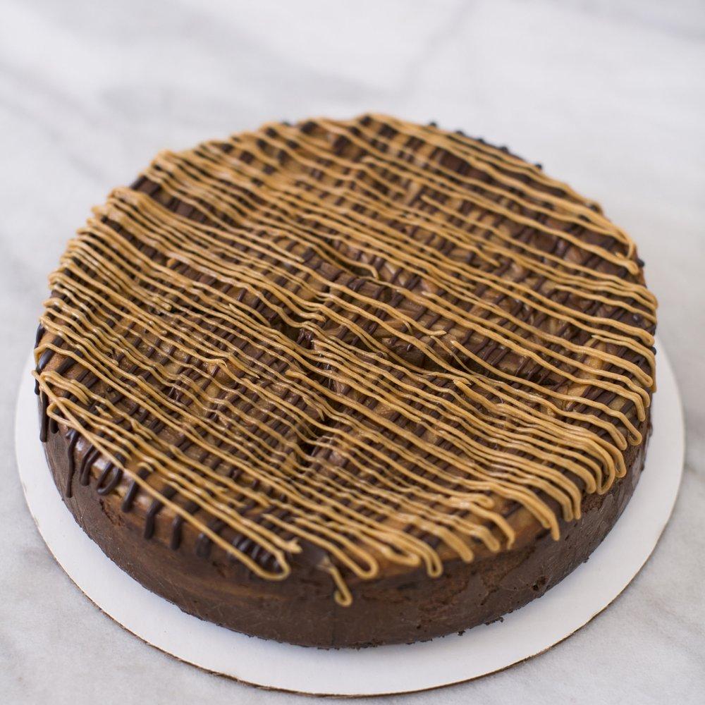 Chocolate Salted Caramel Cheesecake  Chocolate Crust, caramel and chocolate cheesecake  $40