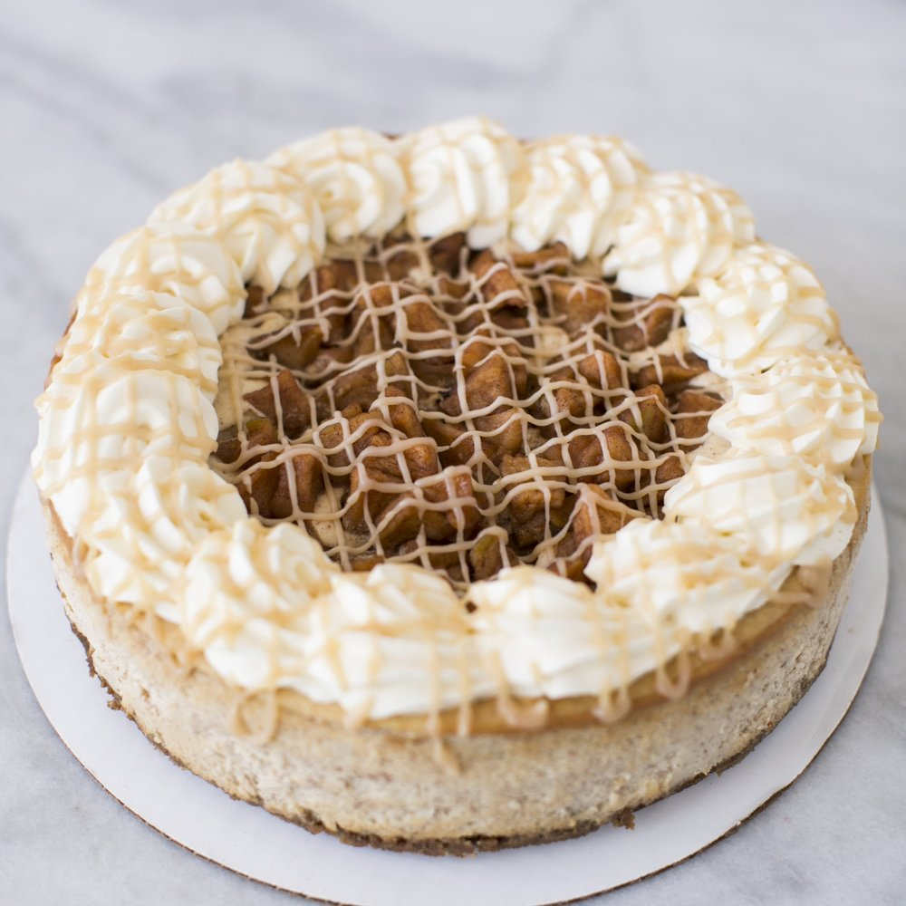 Apple Pie Cheesecake  Cinnamon-Vanilla cheesecake with cinnamon apples baked in  $45