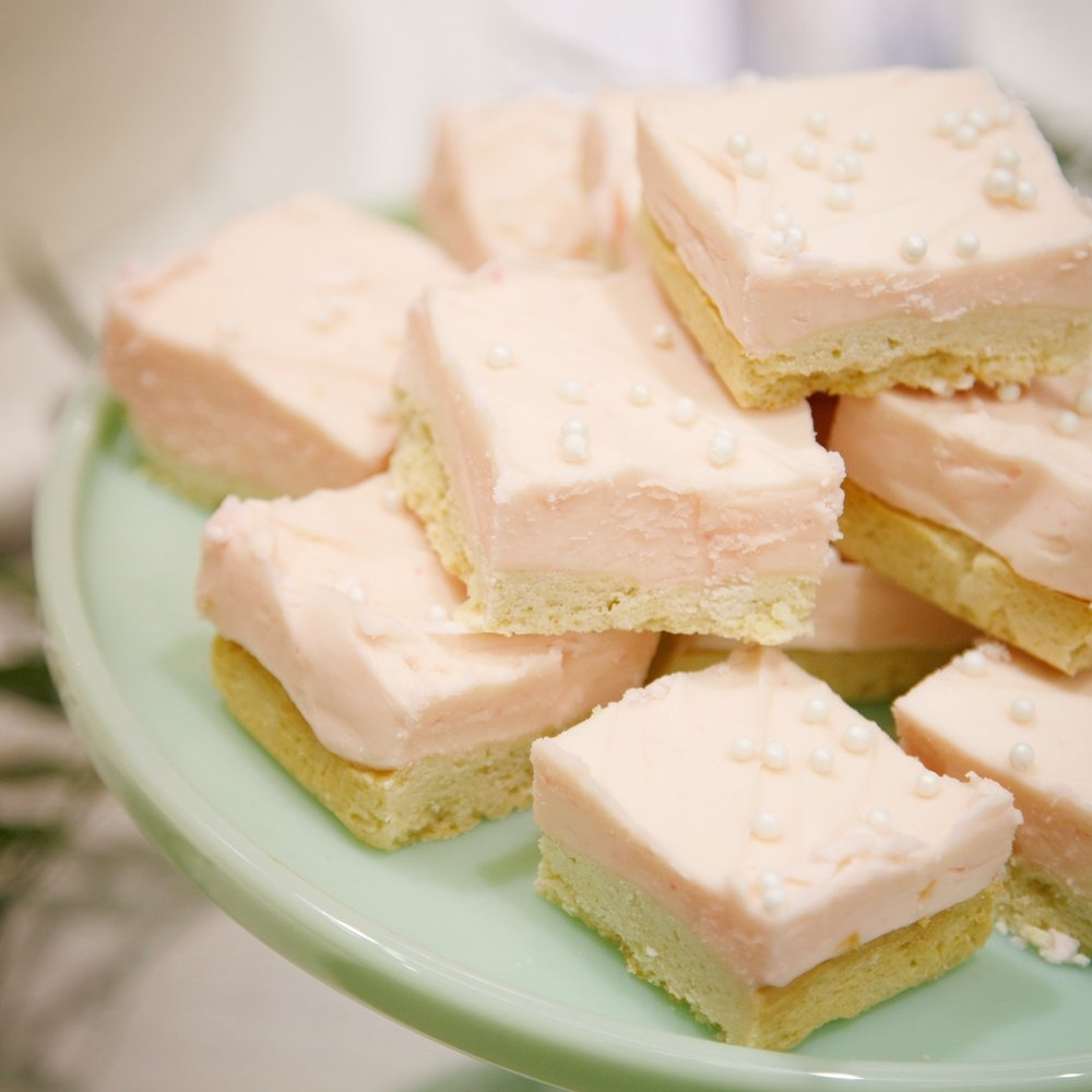 Sugar Cookie Bars  Comes with white frosting standard, but can be customized!   $30 dozen