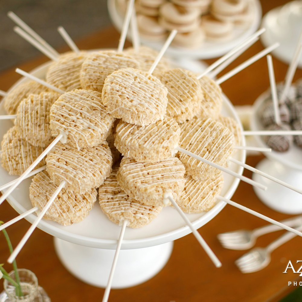 Krispie Pops  A cereal marshmallow treat, but on a stick! Can't get more fun than that!    $30 dozen