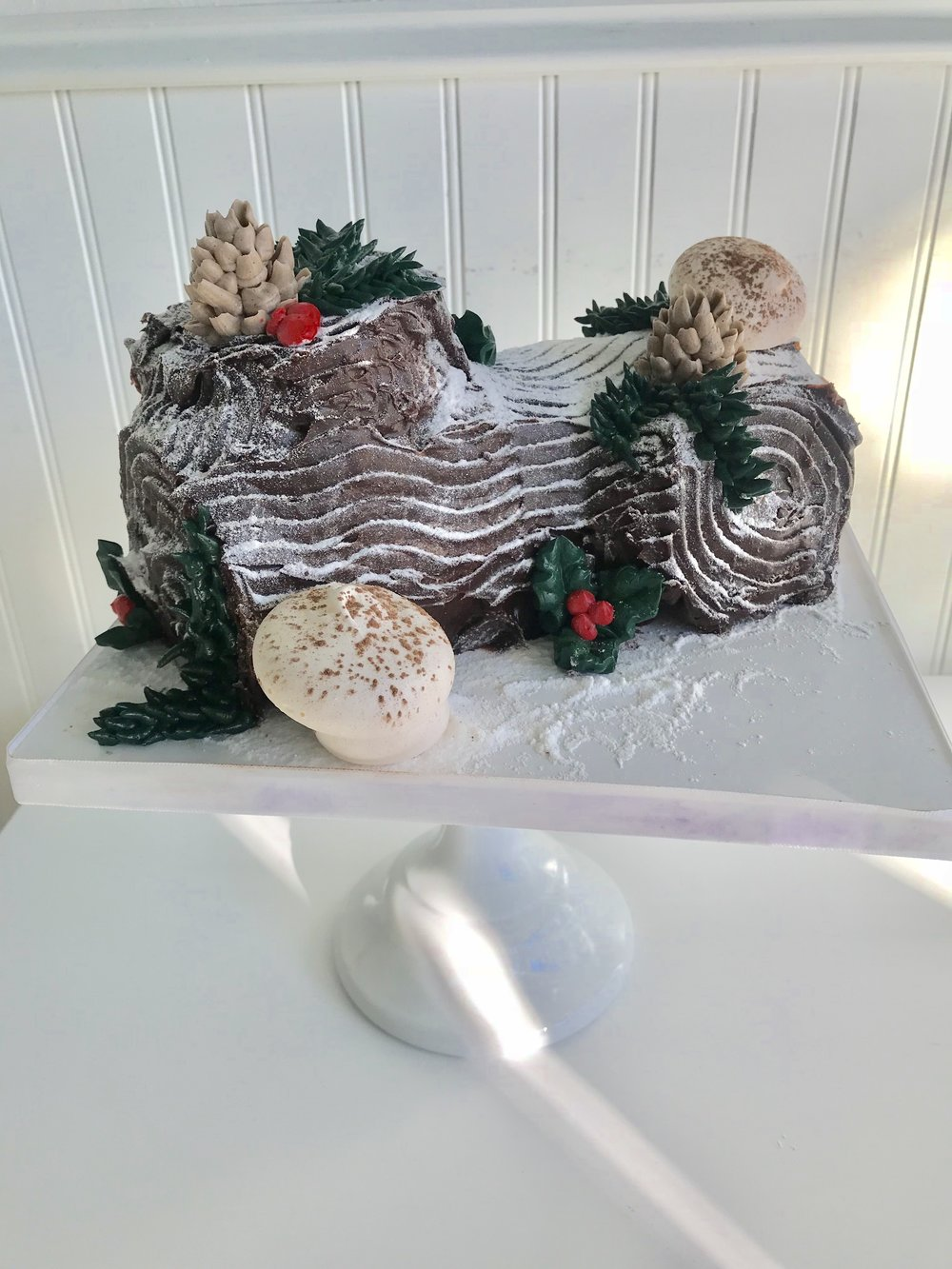 Yule Log   Rolled chocolate cake all dressed up!  $85