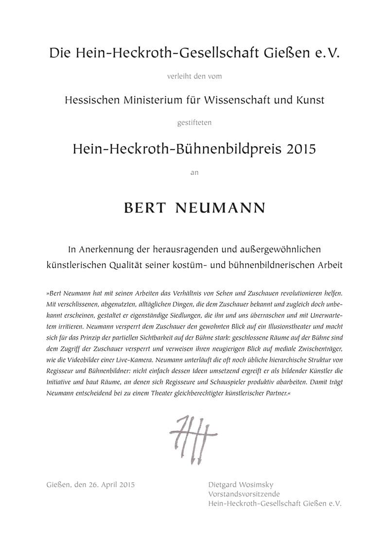 Urkunde Bert Neumann