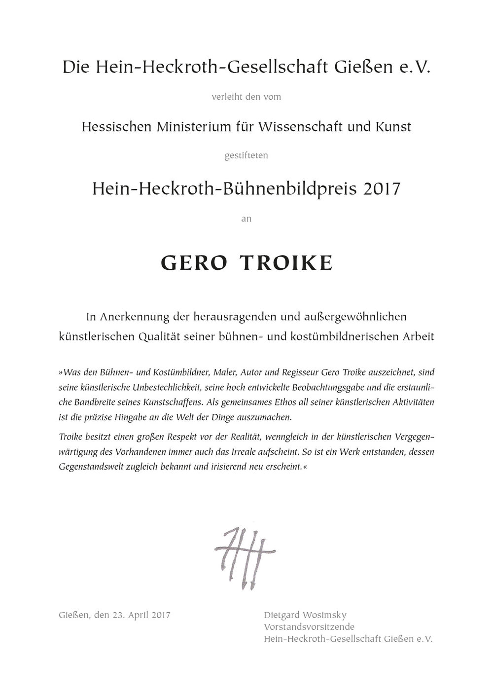 Urkunde Gero Troike