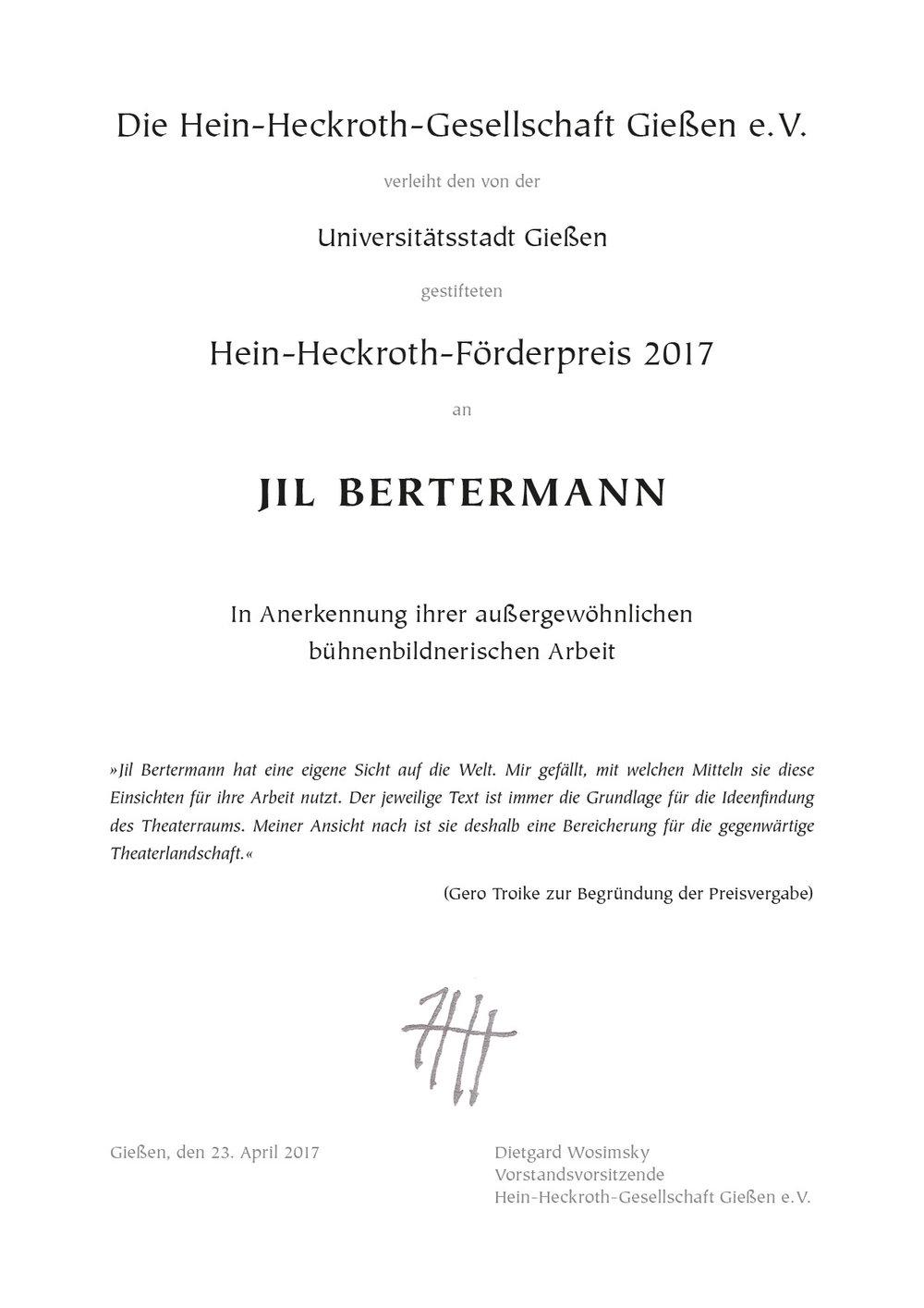 Urkunde Jil Bertermann