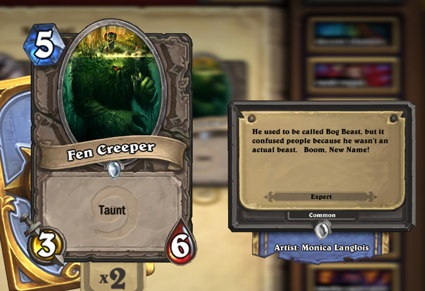 Fen Creeper, Hearthstone Card