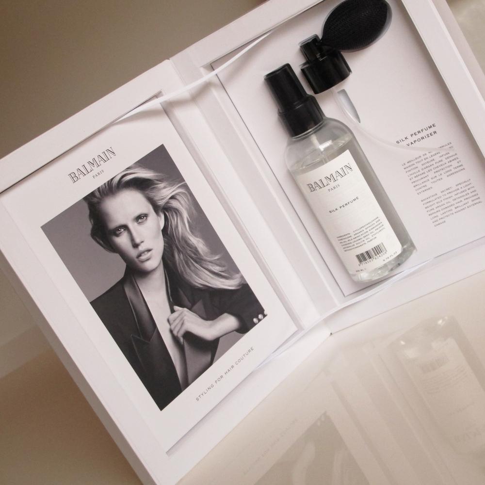 Balmain Paris, silk hair perfume + vaporizer