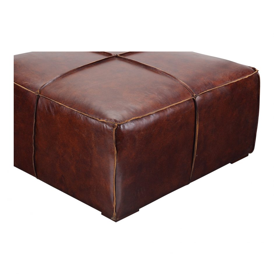 Distressed Leather Ottoman Coffee Table.Silas Coffee Table Brown