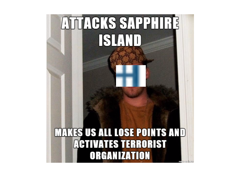 The opening shot of the meme war of Statecraft, fielded by Freuden herself. The flag on Scumbag Steve's face was Maldonia's.