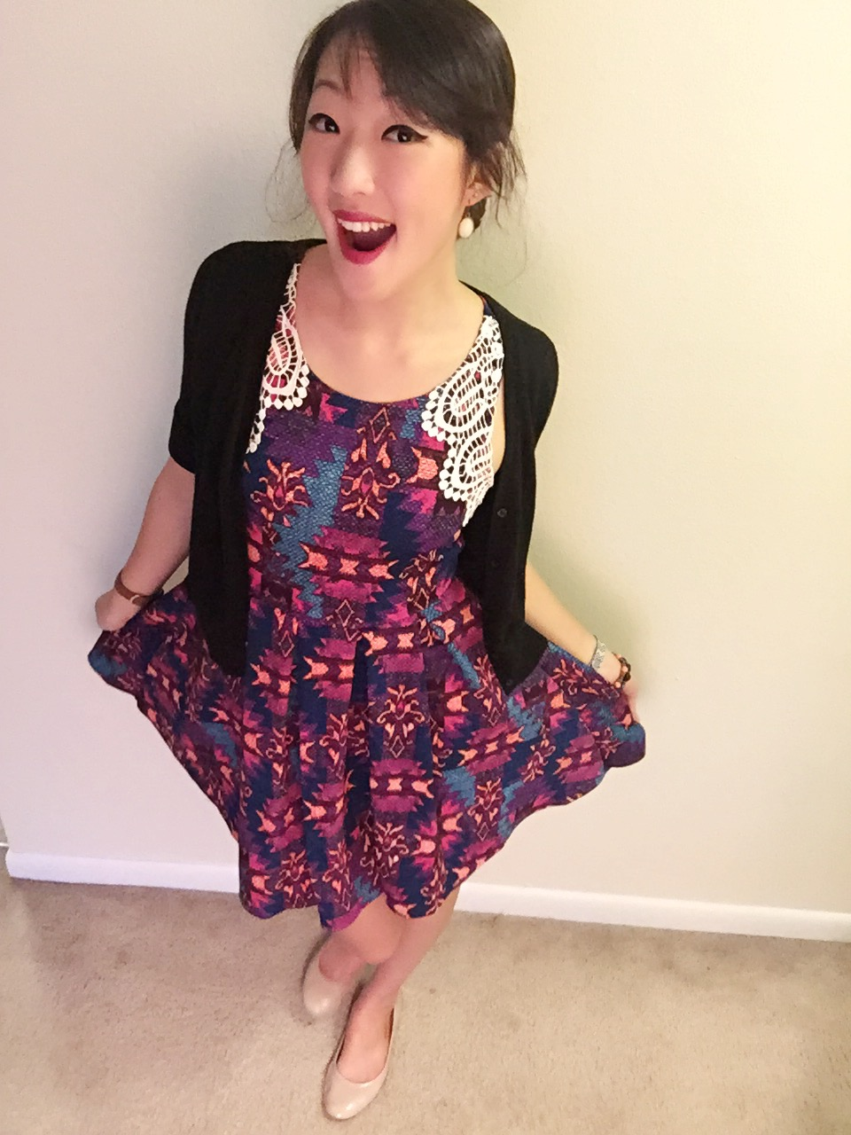 Dress: Target / Cardigan: Francesca's / Shoes: Target / Earrings: Charming Charlie's / Lipstick: NYX