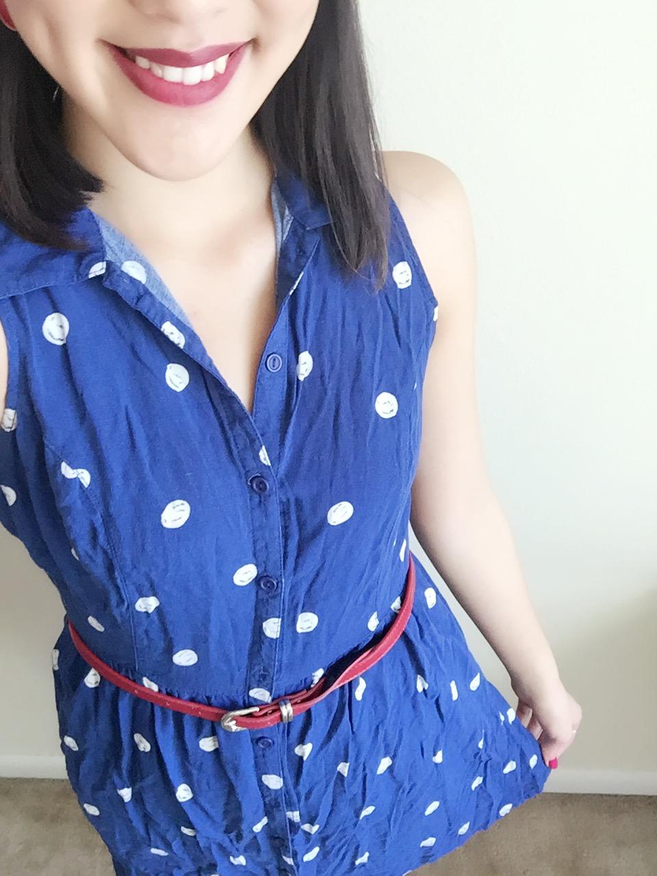 Dress: H&M / Belt: Target / Earrings: F21 / Shoes: Payless / Scarf: Gift / Lipstick: Colour Pop