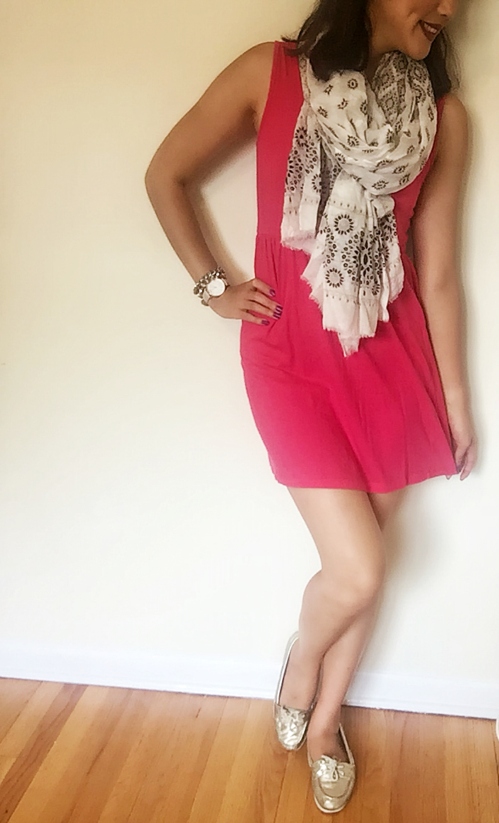 Dress: Forever 21 / Scarf: Hat Attack Shoes: Sperry / Watch: PopSugar / Bracelets: Francesca's / Earrings: Claire's