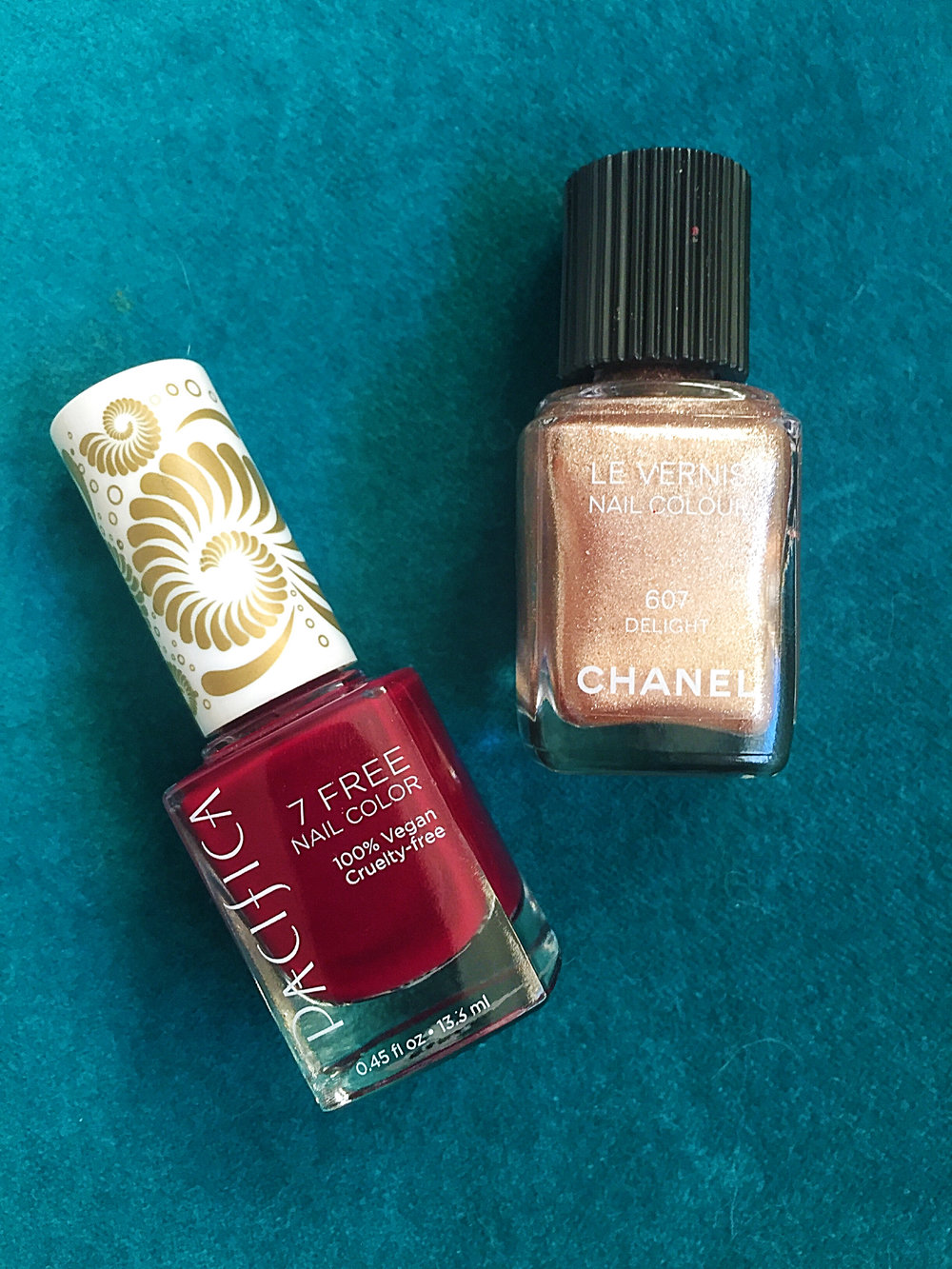 Pacifica Nail Polish in Red Red Wine + Chanel Nail Polish in 607 Delight