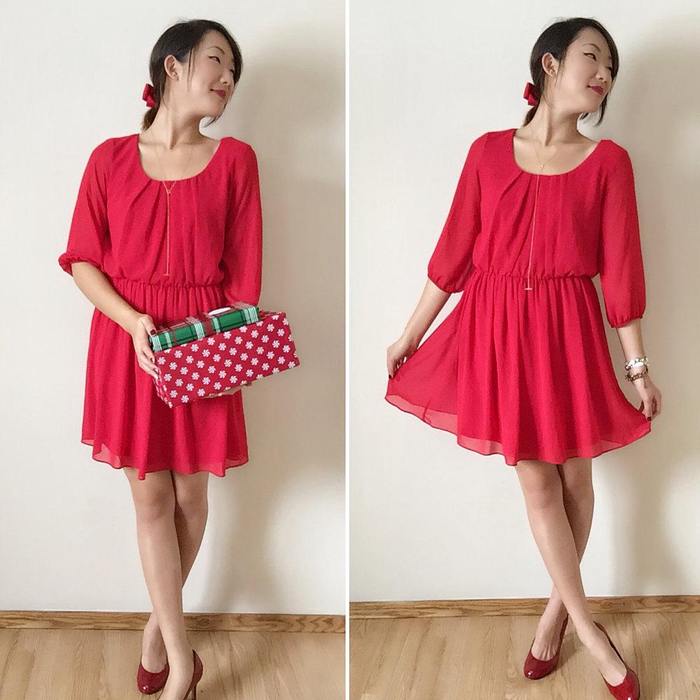 Dress: Target / Shoes: Payless / Bracelets: Francesca's / Bow: Amazon / Necklace: Gorjana / Lips: Smith & Cult