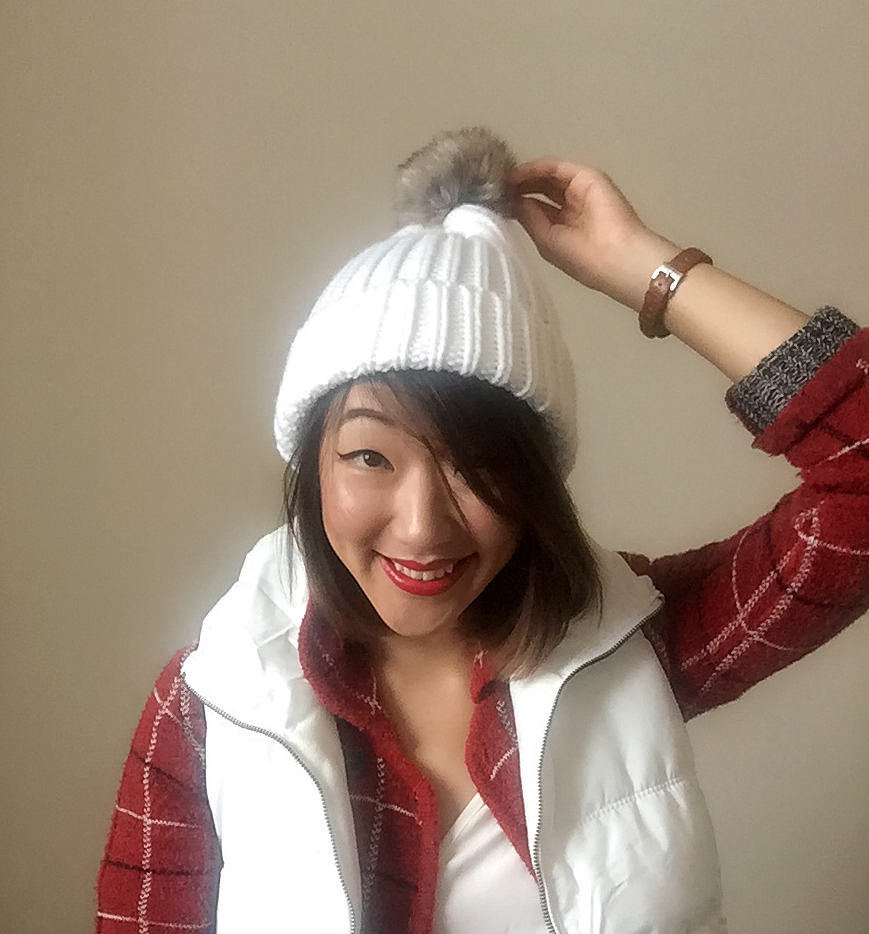 Sweater: Gift /  Puffy Vest: Old Navy  / Top: Francesca's / Pom Hat: Old Navy / Boots: Target / Lipstick: Colour Pop in Behr Hug