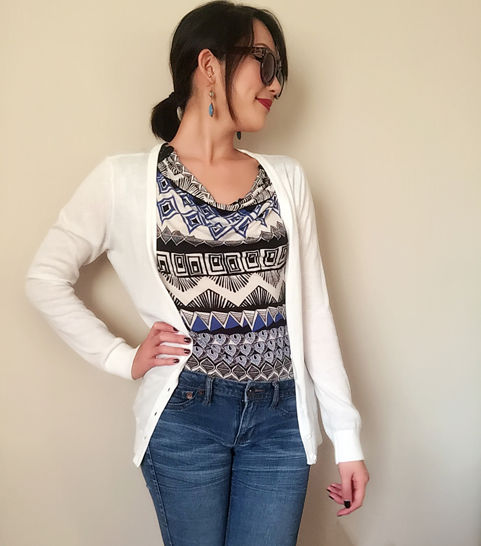 Jeans: Target / Cardigan: F21 / Top: Goodwill! / Earrings: Gift / Sunglasses: Urban Outfitters / Shoes: Payless / Lipstick: Revlon