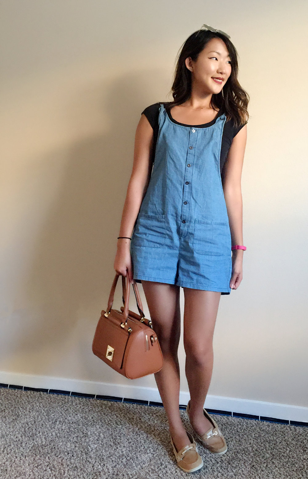 Romper: Ragstock | Lipstick: Colour Pop | Shoes: Sperry | Sunglasses: Target | Bag: Target