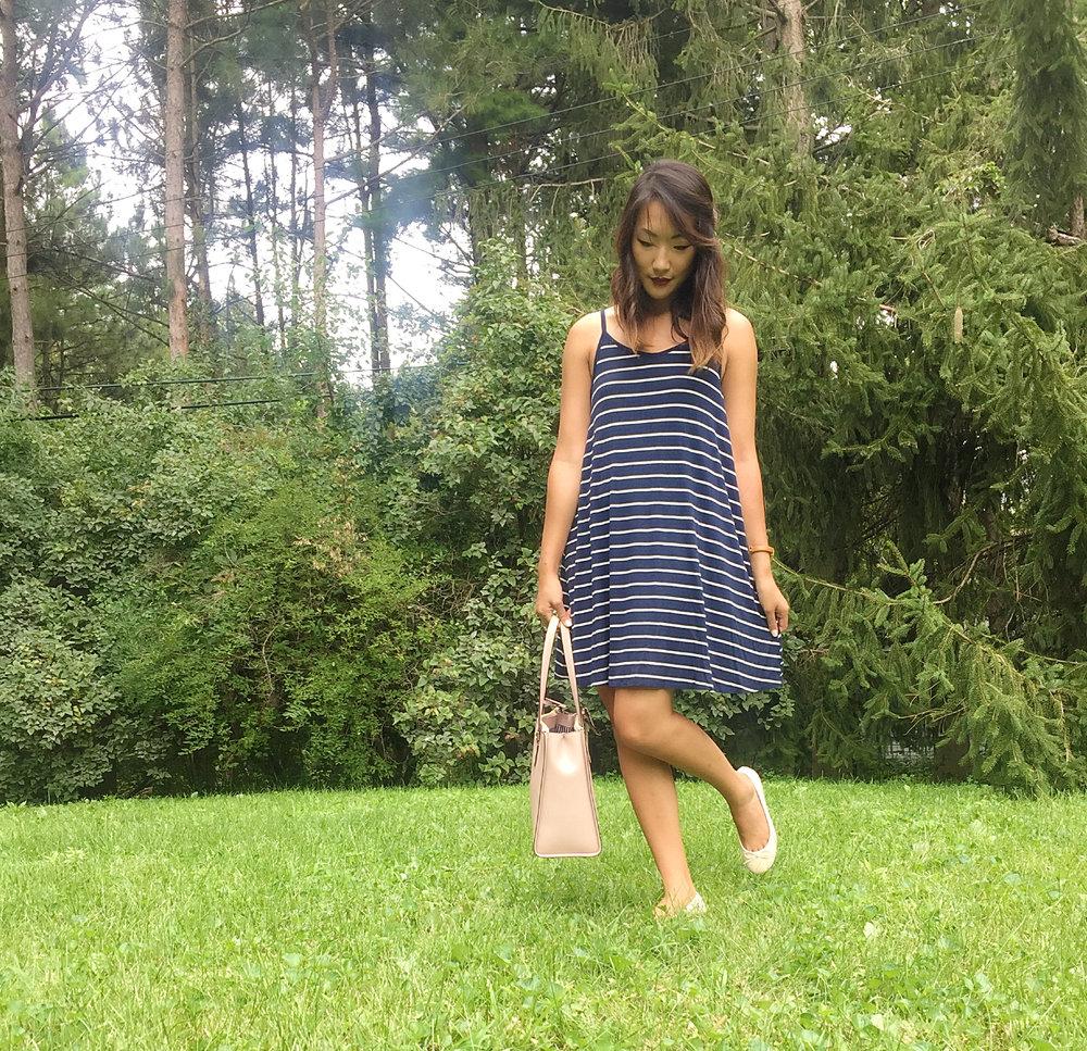 Dress: Target // Flats: Payless // Bow: Amazon // Watch: Charming Charlie's //  Bag: Kate Spade