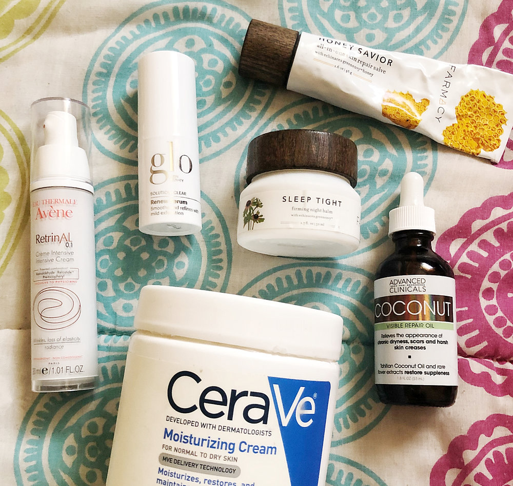 Some Current Favorites:  Avenue Retrinal Intensive Cream ,  Glo Skin Beauty Renew Serum ,  CeraVe Moisturizing Cream ,  Farmacy Sleep Tight Firming Balm ,  Advanced Clinical Coconut Repair Oil ,  Farmacy Honey Savior Repair Salve