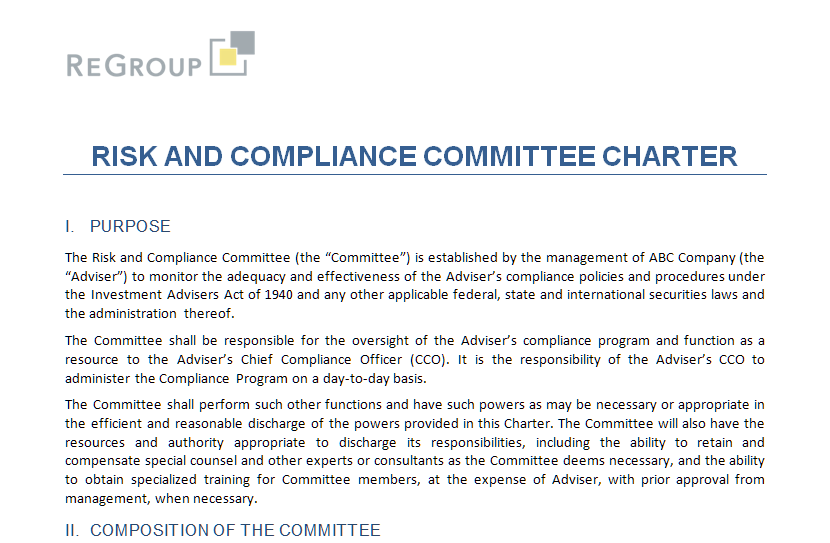 investment adviser compliance FREE TOOL: Risk and Compliance Committee Charter — ReGroup, LLC ...