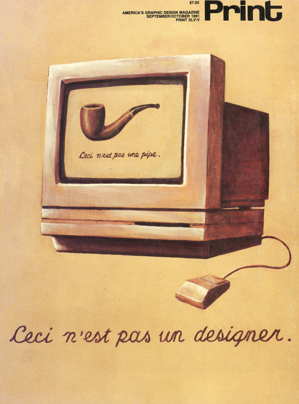 "Print magazine cover ca. 1991. (Translation: ""This is not a designer"")"