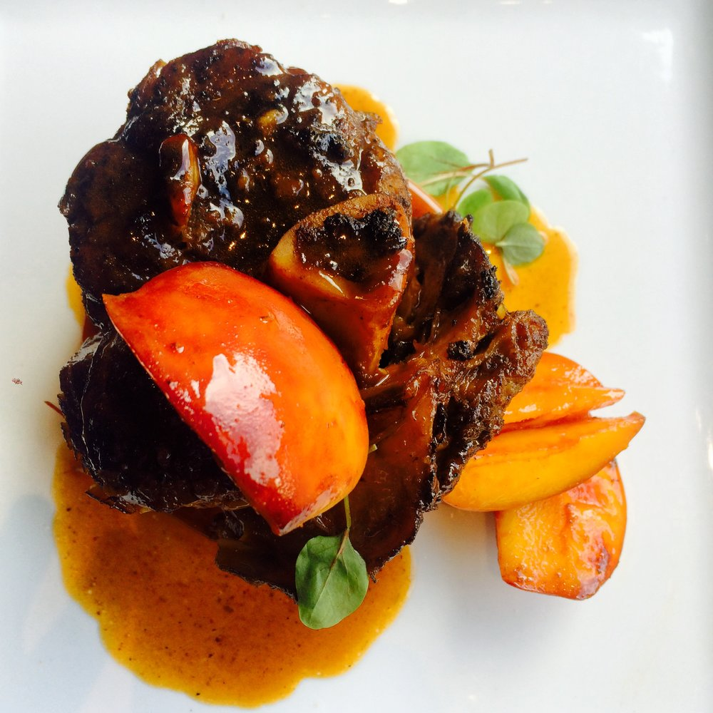 Slow Cooked Smoked Pork Shank, Sorghum Peaches