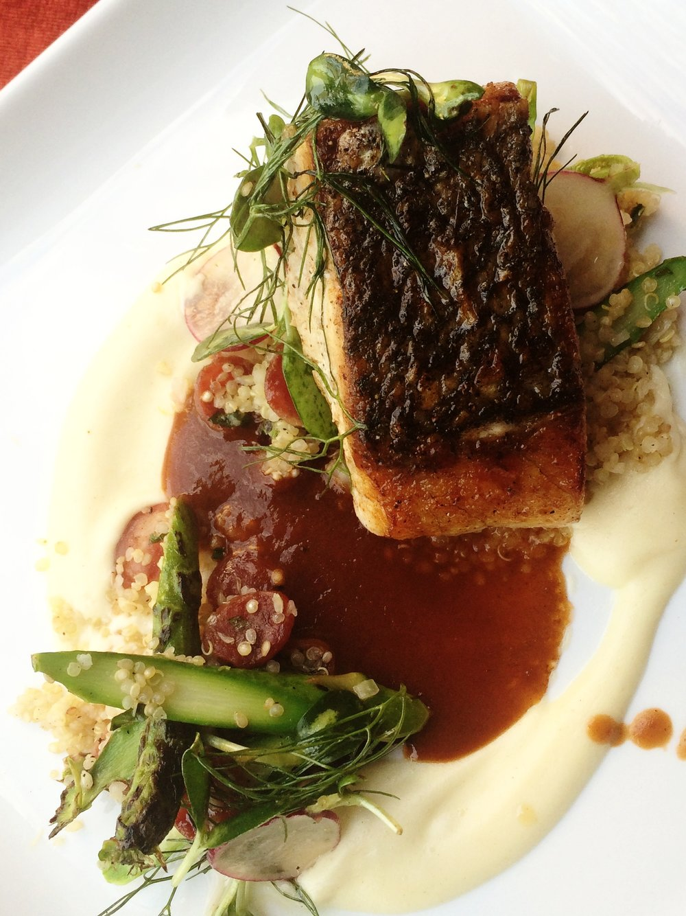 Red Drum, Chinese Sausage + Buttermilk-Parsnip Gravy