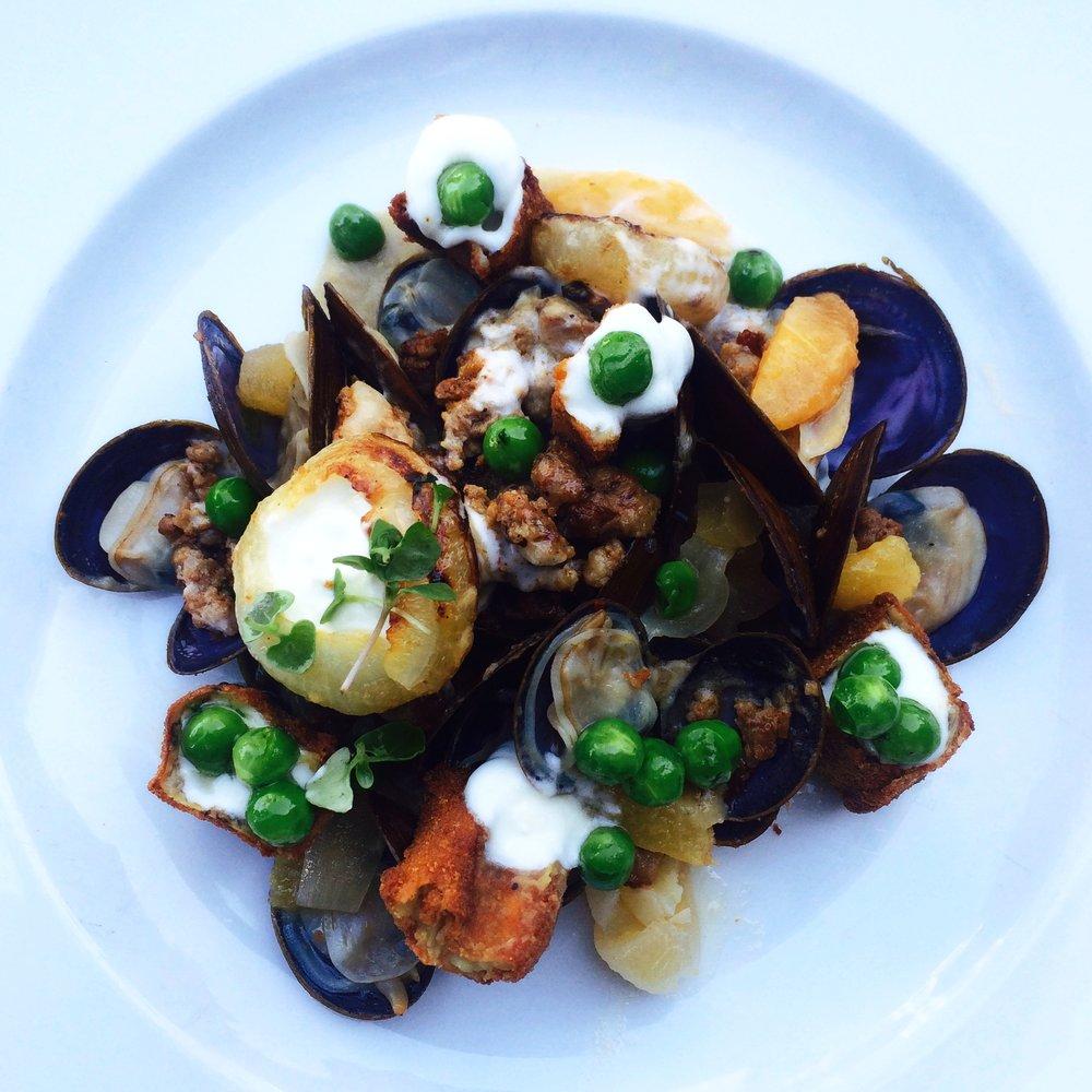 Savory Clams, Sausage, Peas, Cipollini