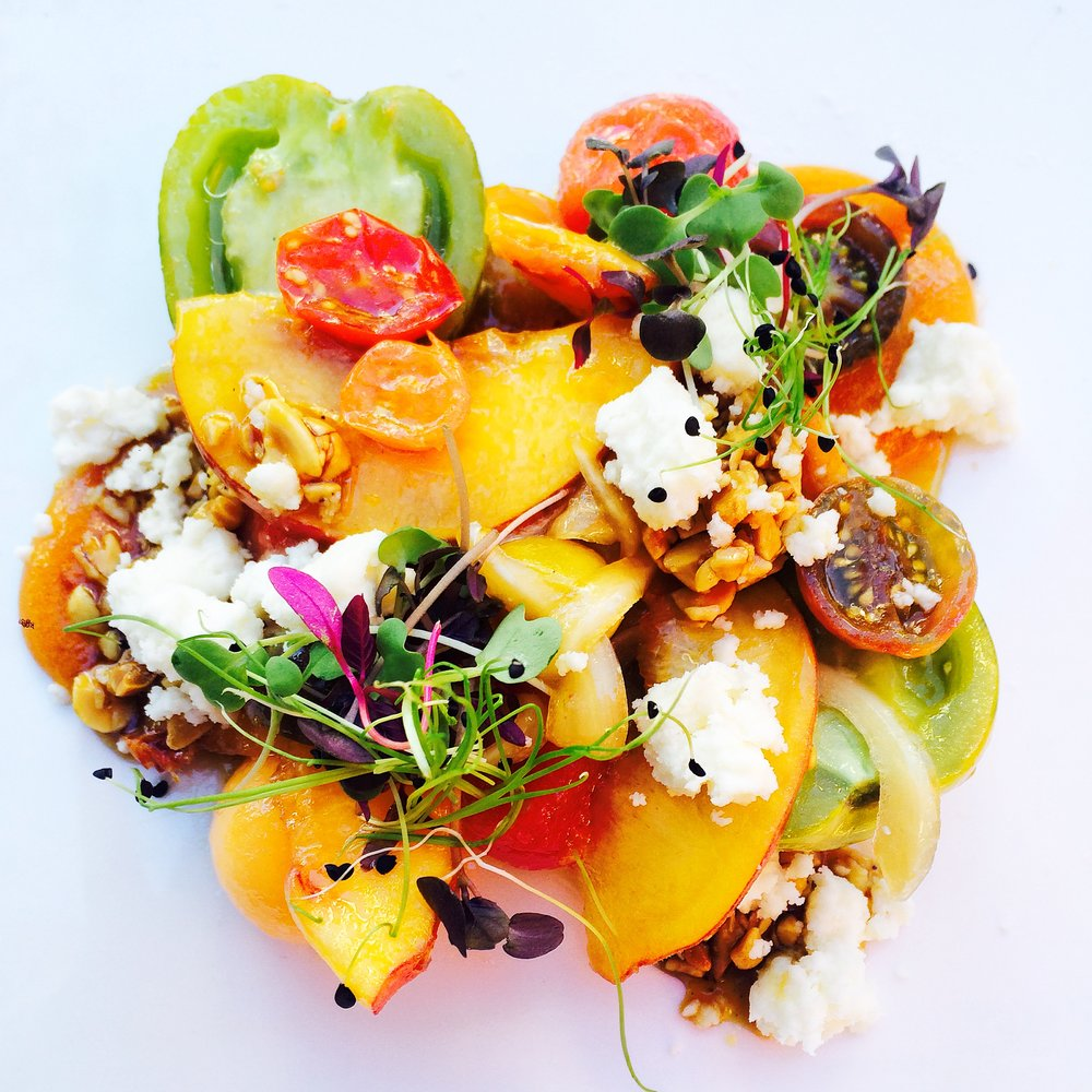 Heirloom Tomato, Poppy Peanut Hash, Goat Milk Cheese, Cane Vinegar