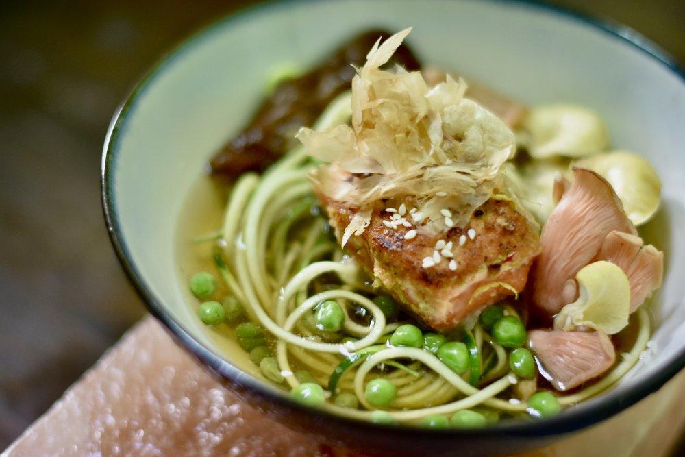Crispy Halibut/Wild Mushroom Broth/Pink Oyster Mushrooms/English Peas/Bonita Flakes & Chicharron