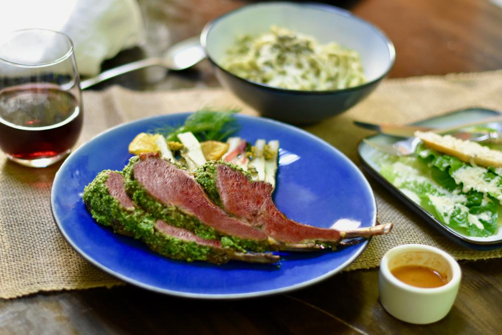 Herb-crusted Baby Lamb Chops/Avocado Mashed Potatoes/Molcajete Caesar Salad