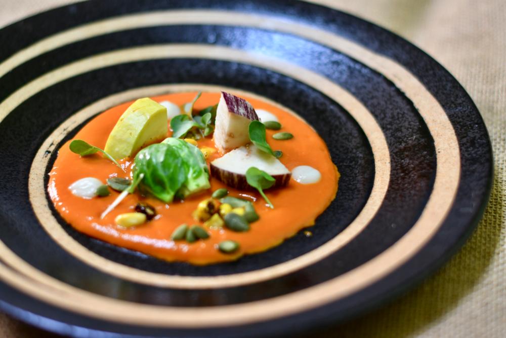 Orange Yellow Mole/ Eggplant/Squash/Brussel Sprout/Roasted Corn/Pepeitas