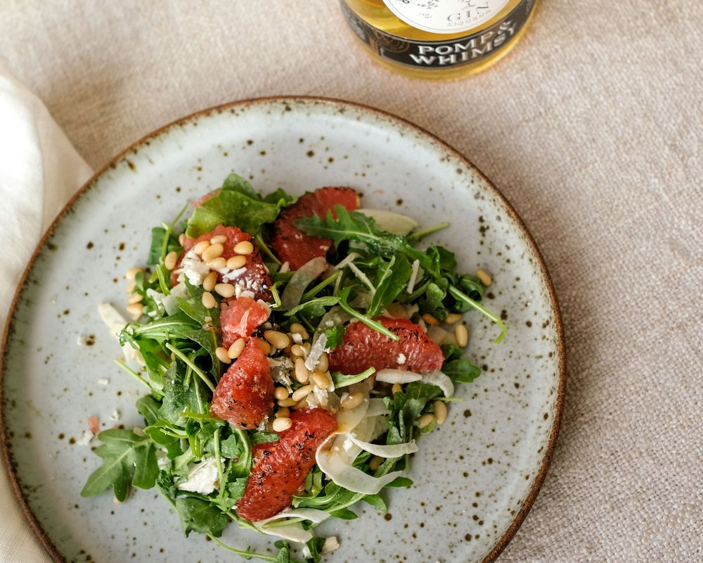 Arugula Salad with Pomp & Whimsy-infused Bruleé Ruby Red Grapefruit (Bessie Lacap Photography)