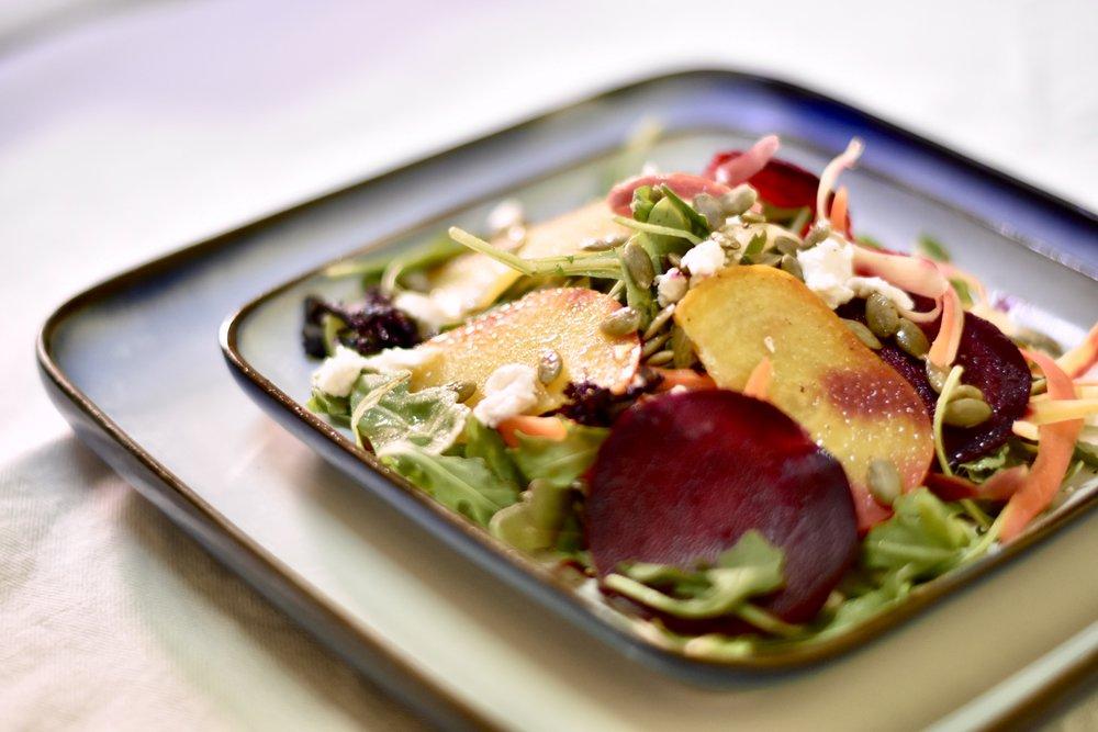 Golden & Red Smashed Beet Salad/Ricotta Salata/Pumpkin Seeds/Crispy Garlic Chips