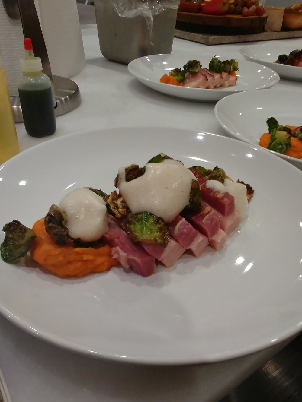 24hr. SOUS VIDE BACON Yam puree, Crispy Brussels Sprout Leaves, Spiced Cider - Rose Water Foam