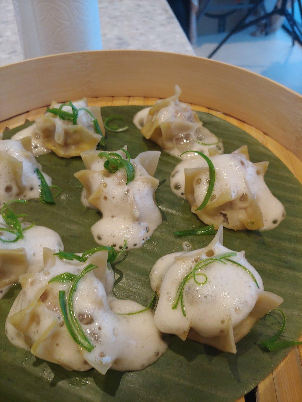 GINGER PORK SHAO MAI DUMPLINGS Garlic, Scallion, White Soy Sauce Foam