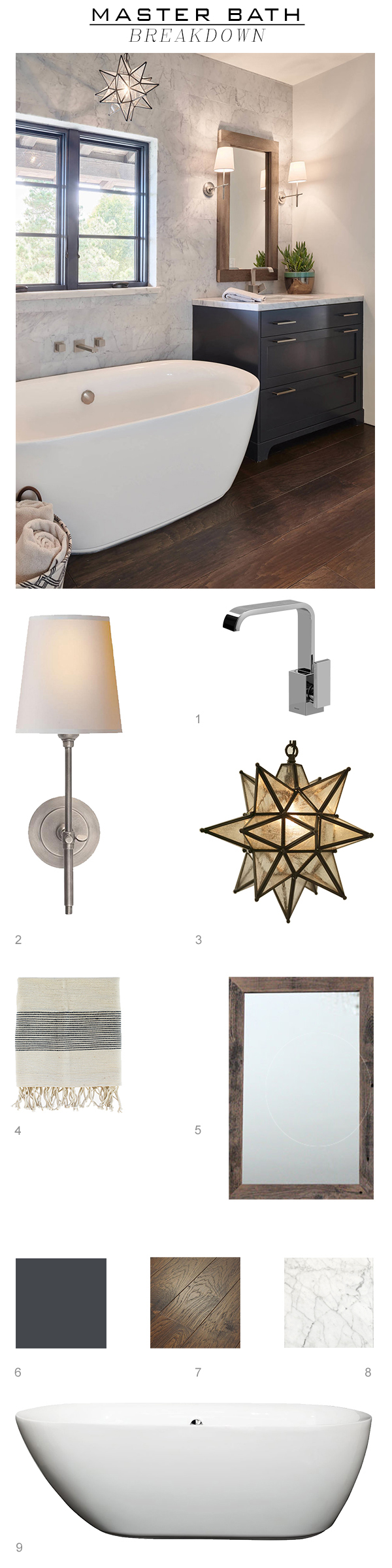 1.  Vanity Faucet   2.   Sconce   3.  Pendant   4.  Hand Towel   5. custom Wood Mirror  6.  Vanity Color   7.   Wood Flooring   8.  Marble Wall Tile   9.  The Tub     wanna see the whole house? Click  Yorkshire