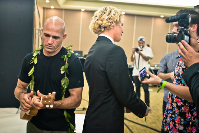 "Justin Jay Kelly Slater and John John Florence. Surfer Poll Awards, 2014 4"" x 6"" Dye Sub Color print on metallic paper Click here to purchase"