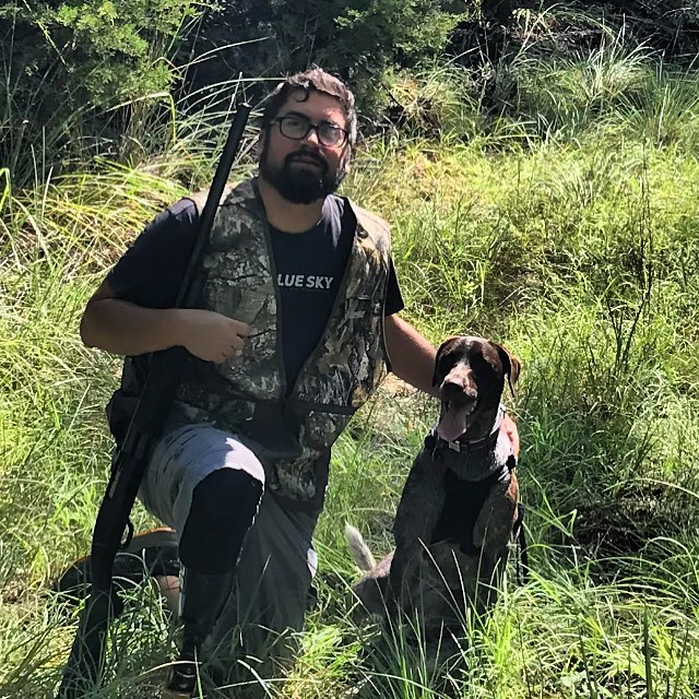Chad and his dog Nala had a great day exploring on the ranch in #spicewood  Chad navigated over rocky creek bottoms, rough trails, grassy prairie with ease wearing his hunting leg built with a #rushfoot.  He even wore his 1 year old pup out!  #outdoors #prosthetics #amputeehunter #fieldandstream #blueskyprosthetics #ottobockus_ca #patchofbluesky
