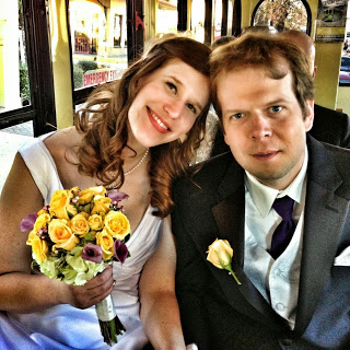My husband John and I on our wedding day.  Photo courtesy of my awesome big brother.
