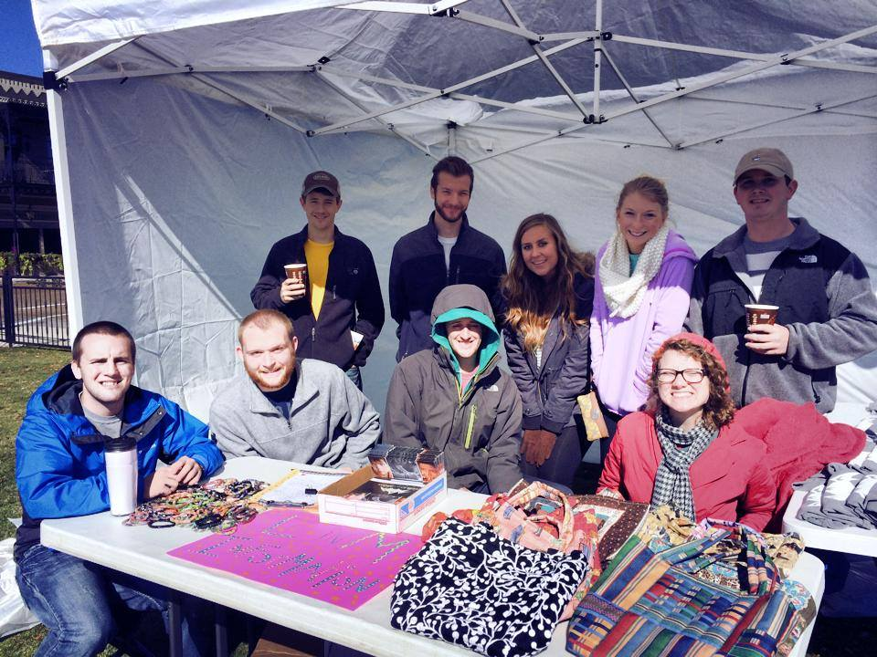 UT Martin student organization chapter members of Letters in Motion selling product to raise funds as a group to travel to Nepal.